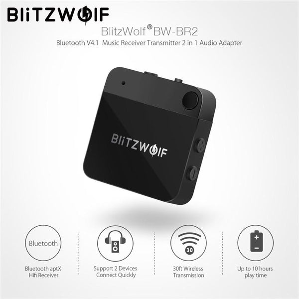 BlitzWolf Bluetooth V4.1 Music Receiver Transmitter APTX 3.5mm AUX Wireless Bluetooth Audio 2 In 1 Adapter For Smartphone PC TV