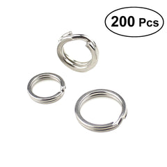 200pcs Stainless Steel Double Split Rings Fishing Lures Hook Connector Lures Tackle