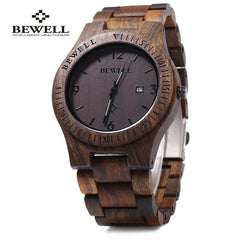 2018 BigBen Bewell Luxury Brand Wood Watch Men Analog Natural Quartz Movement Date Male Wristwatches Clock Relogio Masculino