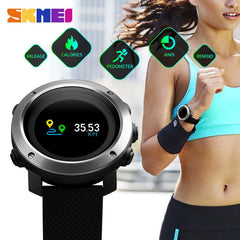SKMEI  Fashion Compass Watch Men Women Screen Pedometer Sports Watch Waterproof Outdoor OLED Display Digital Wristwatches