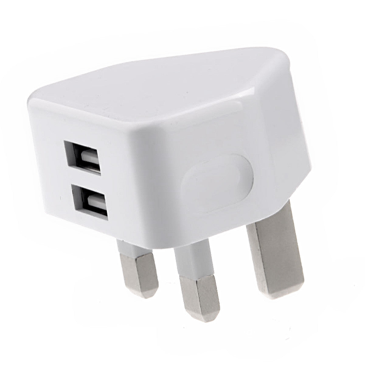 Portable 5V/2.1A Dual USB Output UK-plug AC Power Adapter Wall Charger (White)