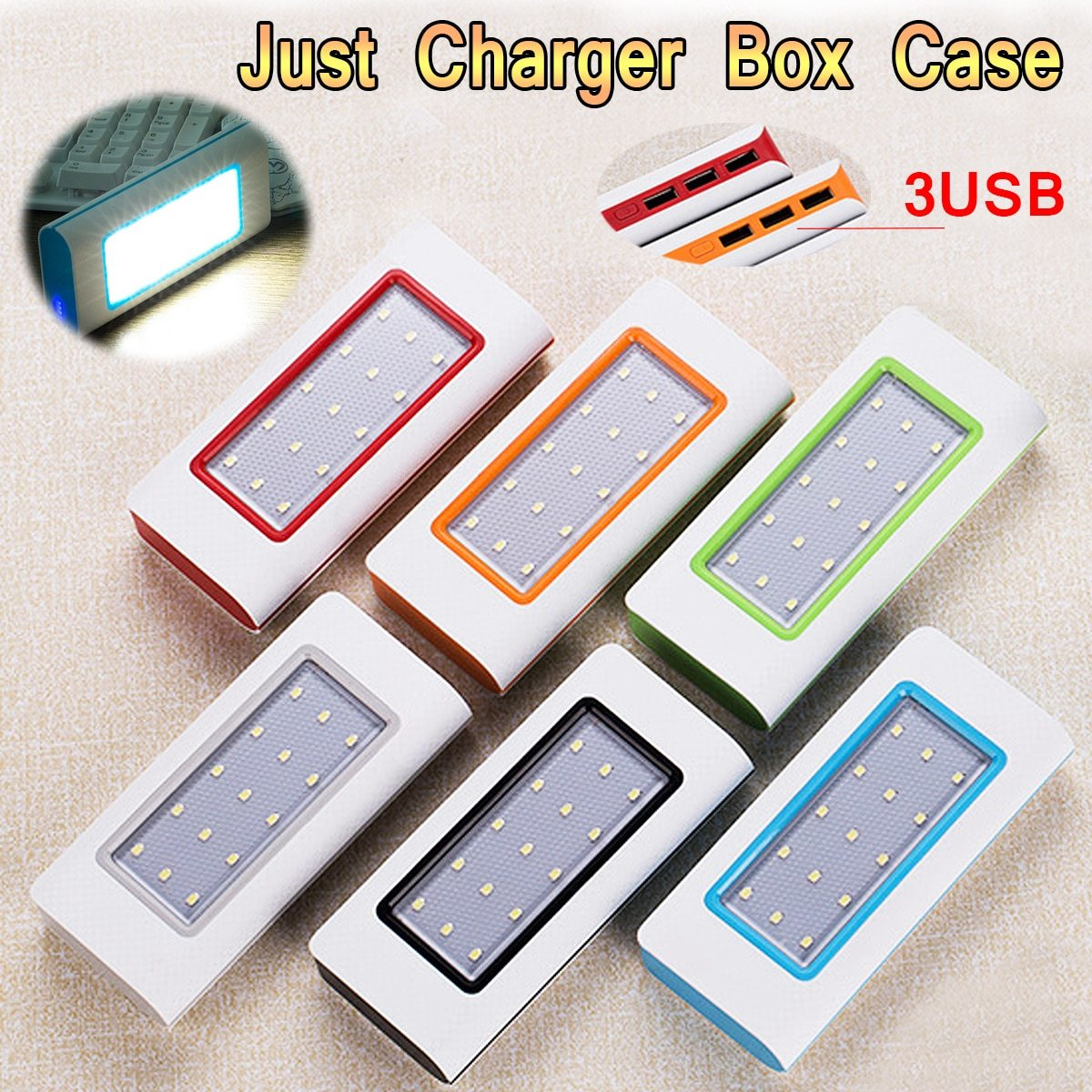 Solar LED Portable 3 USB Power Bank 5x18650 External Battery Charger Box Case