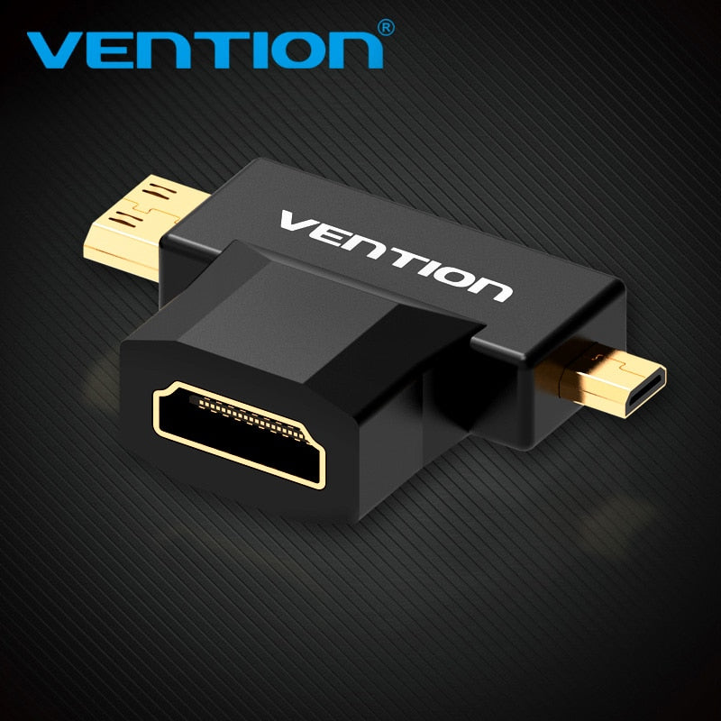 Vention Mini HDMI / Micro HDMI to HDMI Adapter Converter 2 in 1 3D 1080P Male to Female  for TV Monitor Projector Camera