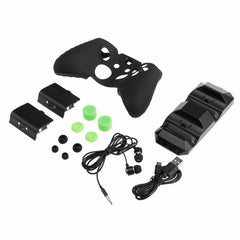 Double Base Gamepad Set with Headset Silicone Case Battery Rocker Cap Headphones Games Accessories for XBOX ONE X/S