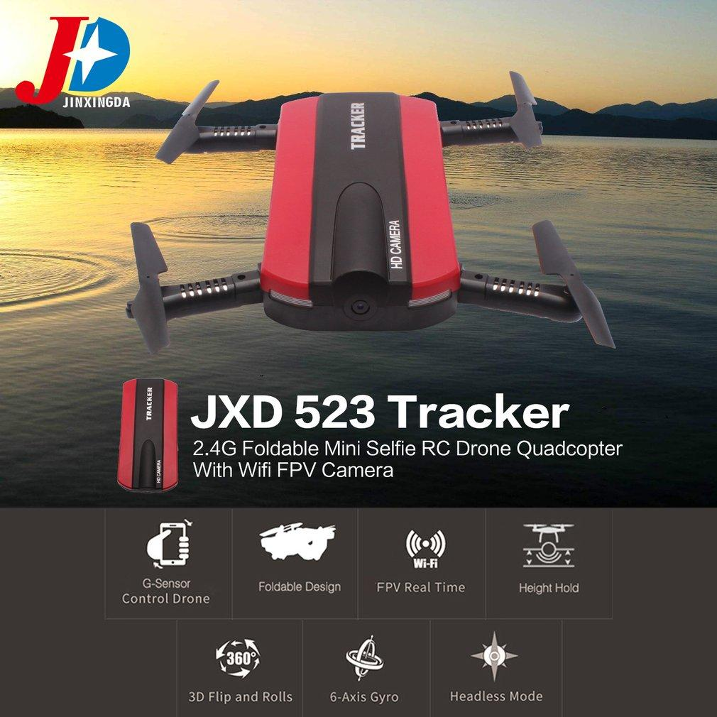 JINXINGDA 523 Tracker 2.4G Foldable Mini Selfie RC Drone Quadcopter With Wifi FPV Camera Altitude Hold G-sensor VS JJRC H37