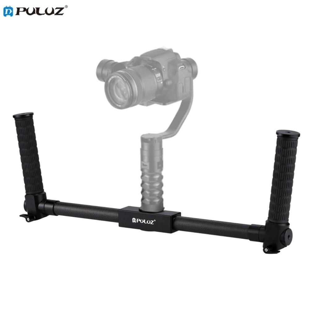 PULUZ Lightweight Carbon Fiber Metal Stabilizer Dual Handheld Grip Bracket Gimbal Stabilizer for DSLR Camera Bracket