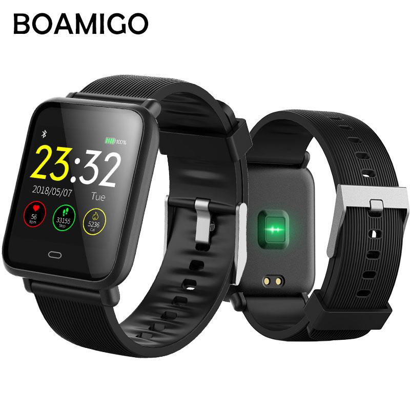 Bluetooth Smart Watch BOAMIGO Smartwatch For IOS Android Phone Call Remind Camera Calories Heart rate bracelet Wristband OLED