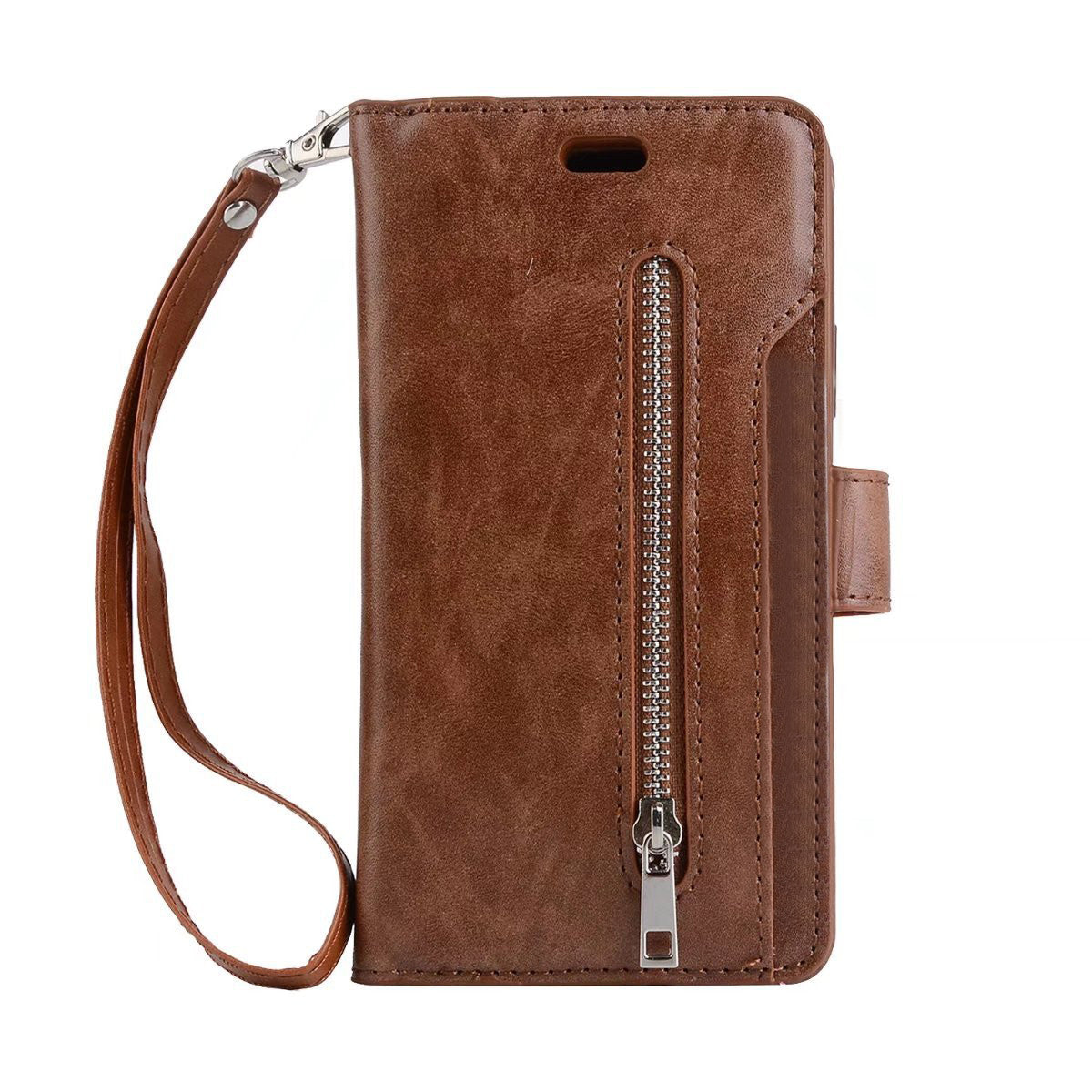 Phone Case Dual Layers PU Leather Card Zipper Wallet Phone Case Cover for iPhone 8 Plus / 7 Plus