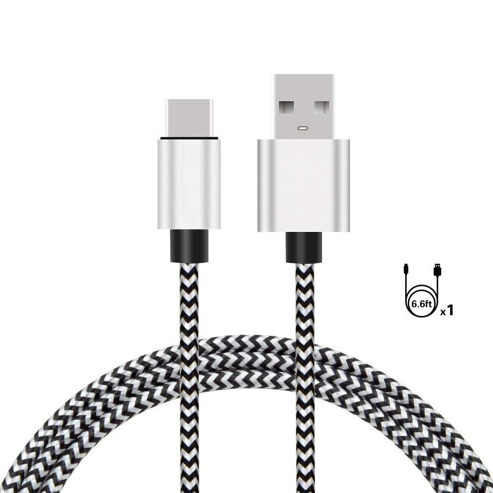 USB Type C Cable, 6.6ft Nylon Braided Fast Charger for Samsung Galaxy Note 8, Galaxy S8 Plus, Google Pixel, LG V30 G6 V20, Nintendo Switch, New Macbook - Silver