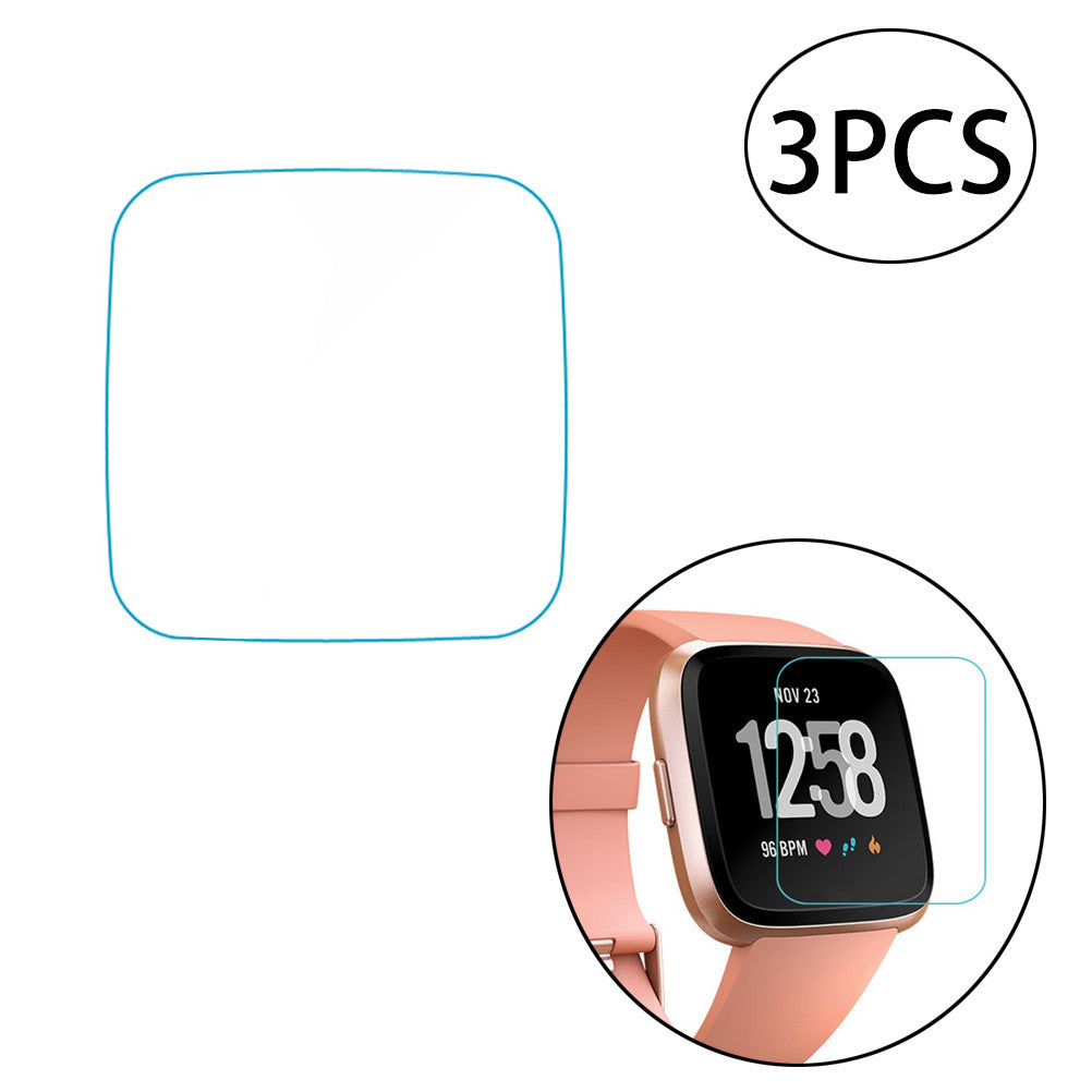 3 PCS Tempered Glass Screen Protector Explosion-proof Full Coverage 0.3mm 2.5D 9H Hardness HD Screen Protector Film for Fitbit Versa