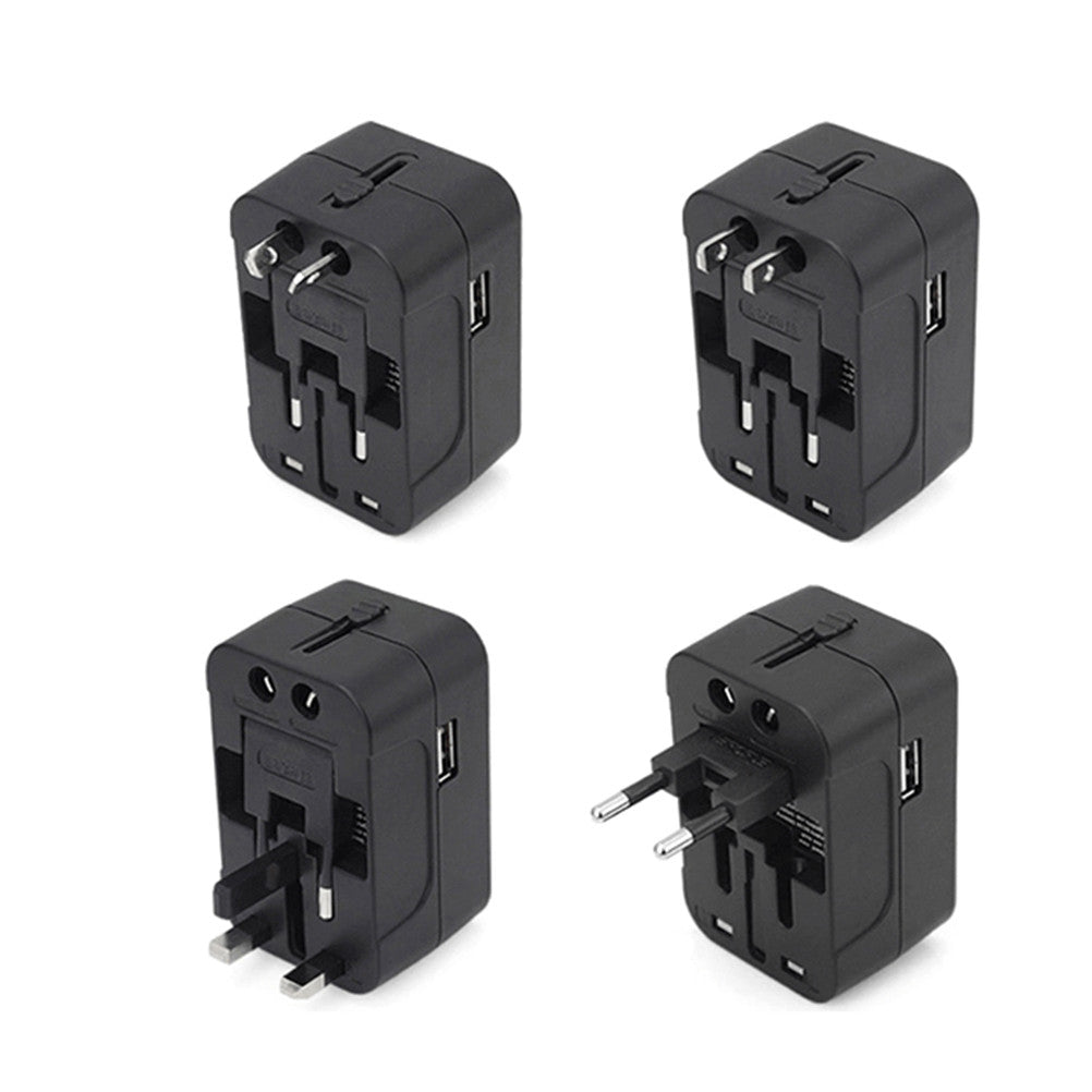 Travel Adapter Worldwide All in One Universal Power Converter AC Power Plug Adapter Power Plug Wall Charger with Dual USB Charging Ports for Charging EU US UK AU Cell Phone Computers