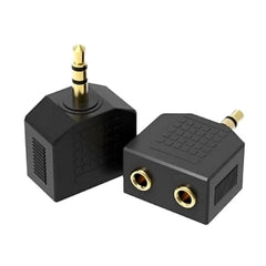 Golden Y Splitter Adapter Male to Double AUX Female Audio 3.5mm Jack Headphone