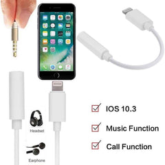 3.5mm Up To iOS 11.4 Headphone Jack Aux Adapter Cable For iPhone 7 / 7 Plus