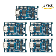 5pcs 5V 1A Micro USB 18650 Lithium Battery Charging + Protection Circuit Board Charger Module