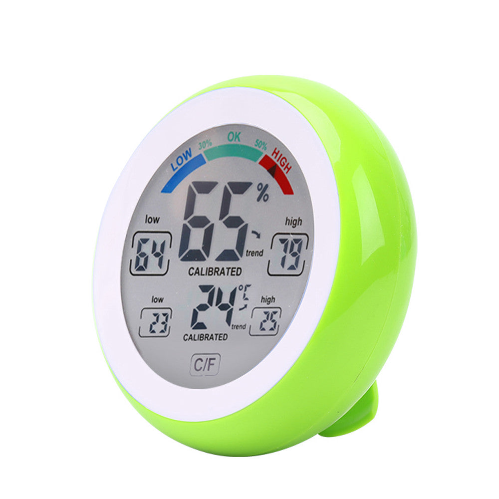 Touch Screen Temperature and Humidity Meter Digital Round Shape Indoor Thermometer and Hygrometer