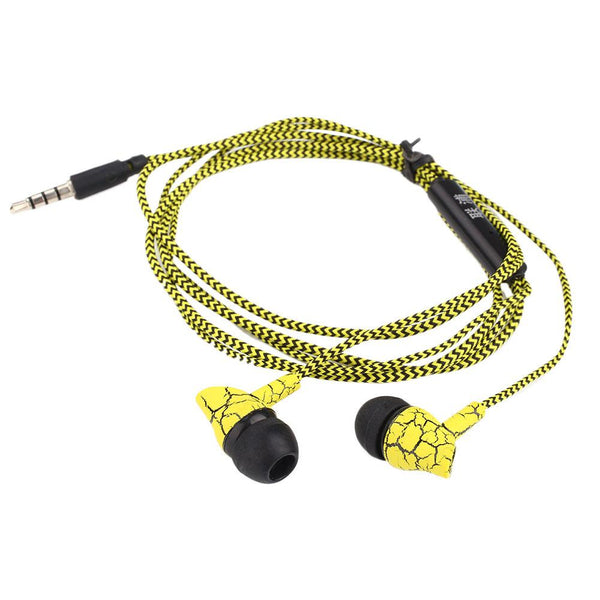 3.5mm In Ear Stereo Headset Super Bass Sports Crack Earphone Earbuds Yellow