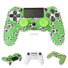 Football Pattern Silicone Gamepad Cover Case + 2 Joystick Cap For PS4 Controller AUG_22 Dropship