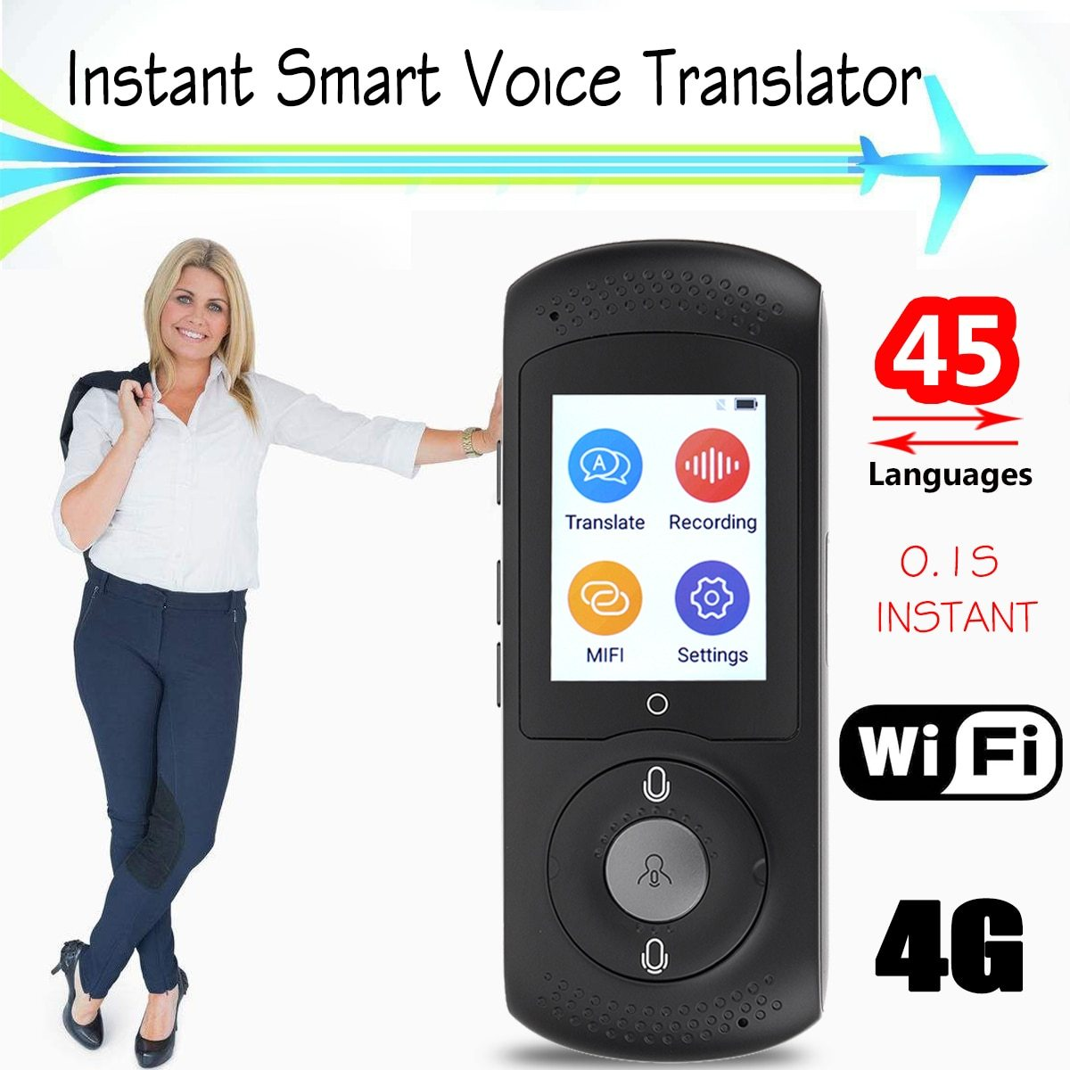 Portable Smart Voice Translator Wifi Instant Voice Translator Real Time 45  Multi-language Translation Traductor For Business