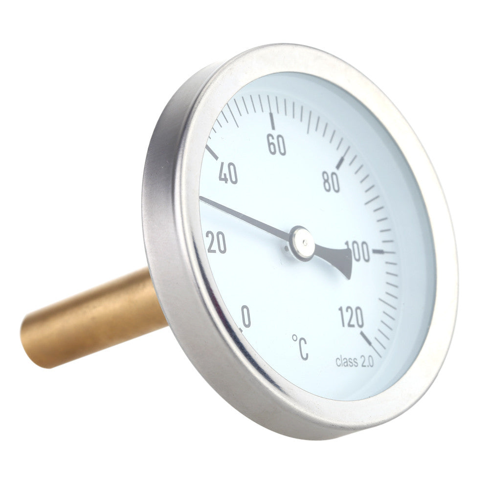 63mm Horizontal Dial Thermometer Aluminum Temperature Gauge 0-120°C