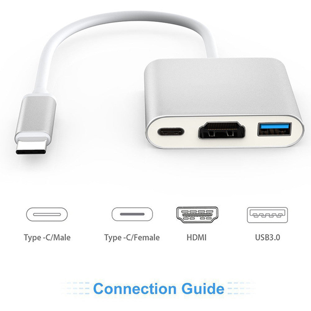 Usb 3.1 Type C To HDMI/USB 3.0/Type C Convertor Cable Adapter for New Macbook/Chromebook Pixel/Usb-C Devices,3 in 1 Type,Sliver