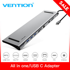 Vention All-in-1 USB C to HDMI VGA Converter USB 3.0 HUB SD/TF Card Reader 3.5mm Jack PD RJ45 Adapter For MacBook USB Type C HUB