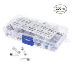 100pcs 5*20mm Fast Blow Glass Tubes Fuses Assorted Kit with Case 250V Amp 0.2A,0.5A,1A,2A,3A,5A,8A,10A,15A,20A