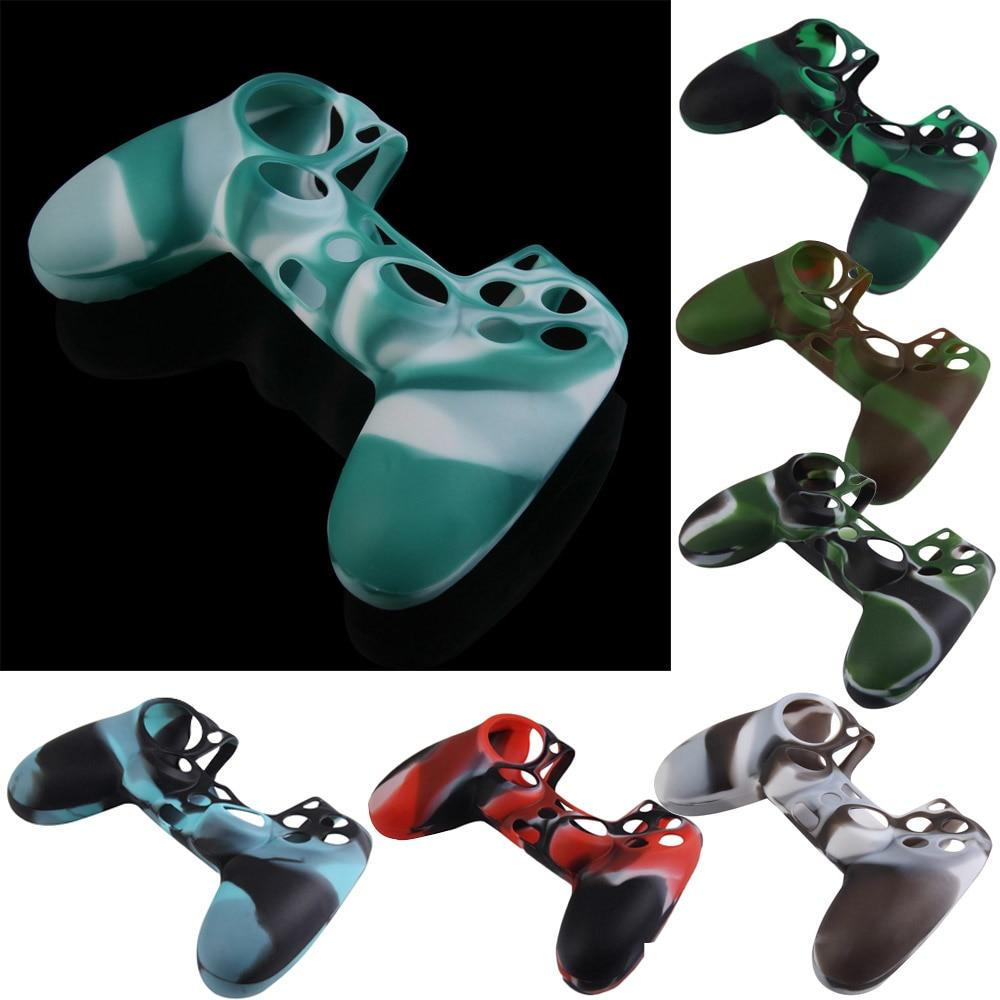 Green Black Gamepad Case Cover Camouflage Silicone Rubber Case Skin Cover Joystick Parts for PS4 Slim/Pro Controller Accessories