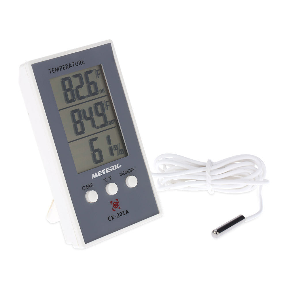 Meterk LCD Digital Indoor/Outdoor Thermometer Hygrometer Temperature Humidity Measurement °C/°F Max Min Value Display