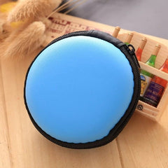 1pc Portable Mini Round Hard Storage Case Bag for Earphone Headphone SD TF Cards Random Color