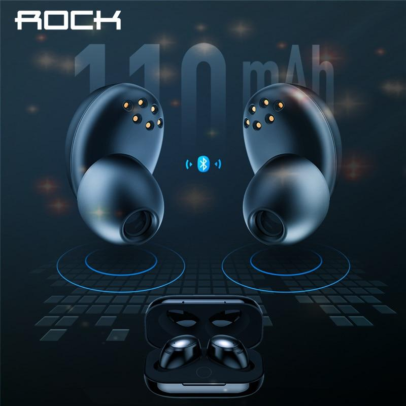 Rock New Mini TWS True Wireless Stereo Bluetooth Earphone with Mic Universal Wireless Handsfree Earbuds with Charger Battery Box