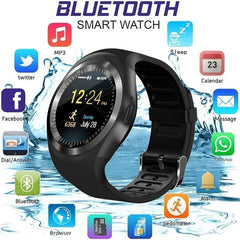 Y1 Bluetooth Smart Watch Pedometer Fitness Tracker Remote Control Waterproof