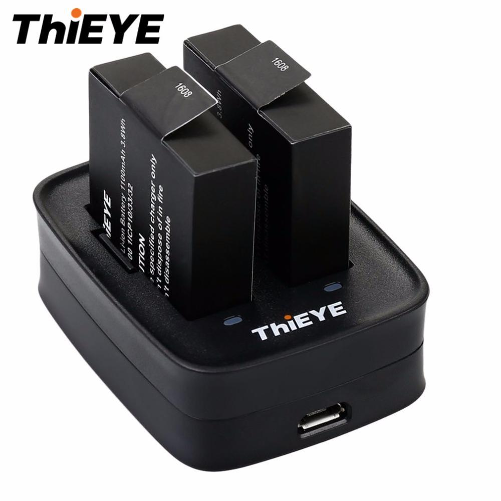 THIEYE Dual battery charger High-efficiency Double Charging Battery Charger for THIEYE T5e Action Camera