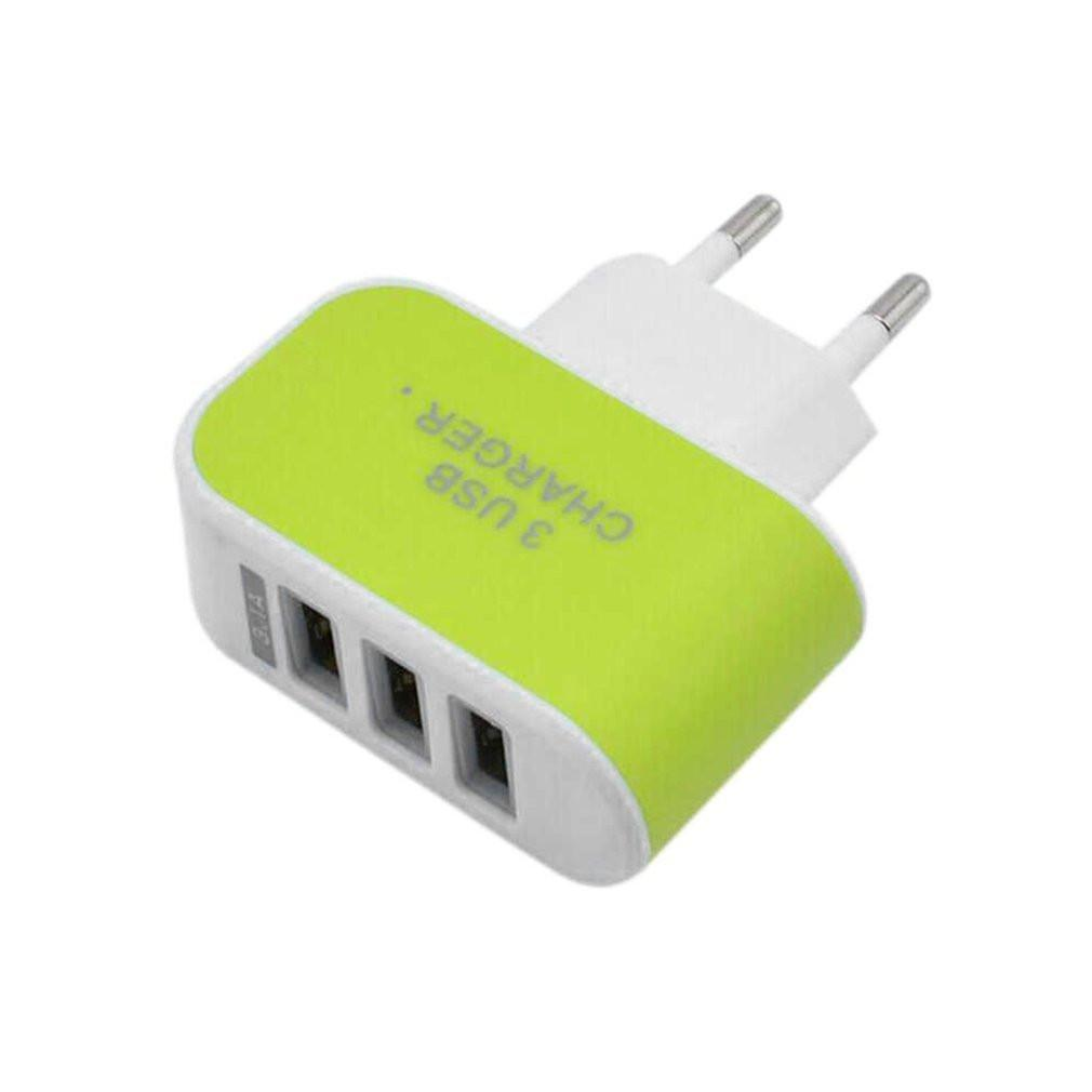 Universal Candy Color 3USB Charger Travel Wall Charger Adapter EU Plug