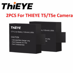 2 PCS Original THIEYE 3.7V 1100mAh Rechargeable Batteries Li-ion Battery For THiEYE T5E/T5 Spare Battery