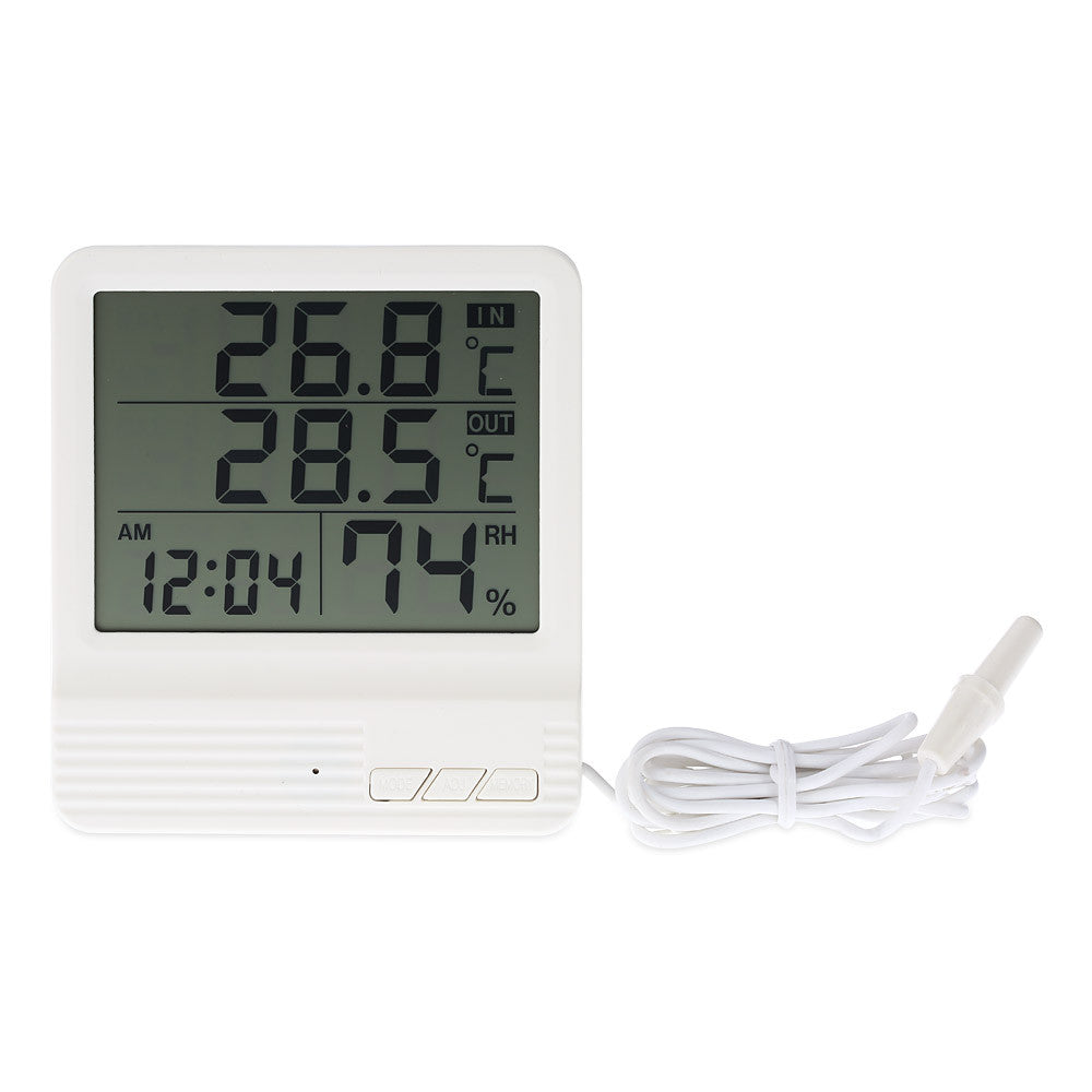 LCD Digital Indoor/Outdoor Thermometer Hygrometer Alarm Clock Temperature Humidity Measurement °C/°F Max Min Value Display