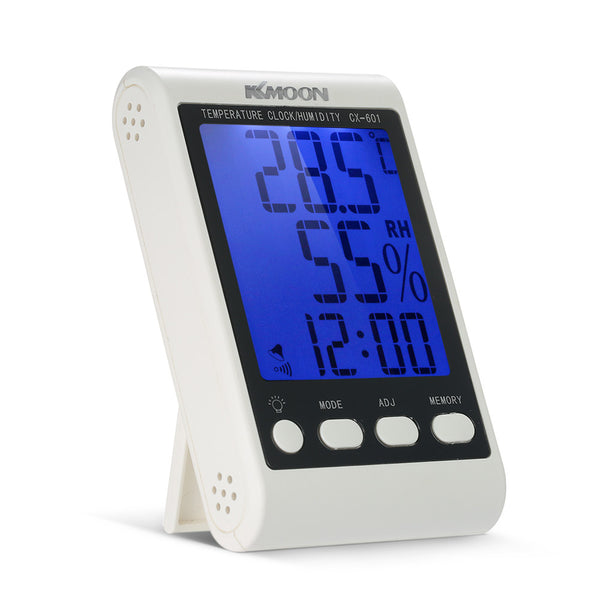 KKmoon LCD ℃ / ℉ Digital Thermometer Hygrometer Temperature Humidity Meter Alarm Clock with Blue Backlight