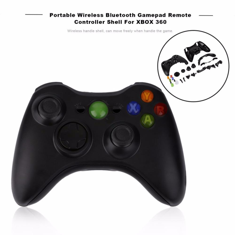 Portable Wireless Gamepad Remote Controller Full Replacement Housing Shell + Buttons Set For XBOX 360 Black