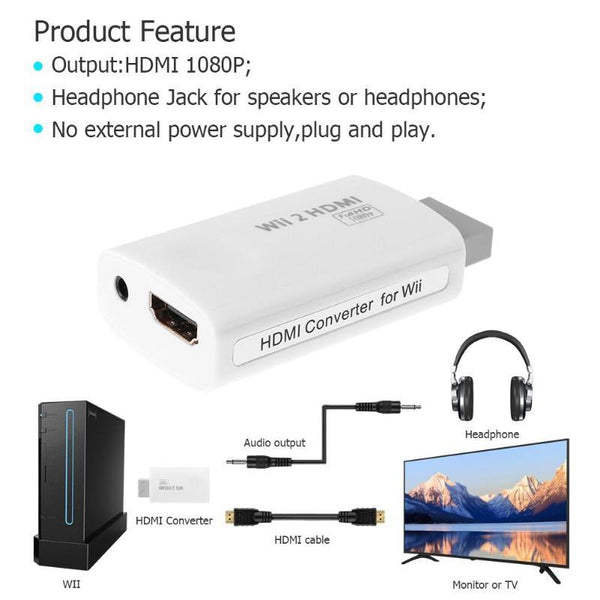 Full HD 1080P HDMI Adapter Converter Connector with 3.5mm Audio Output for Wii Game Console HDMI Cables High Quality Accessory
