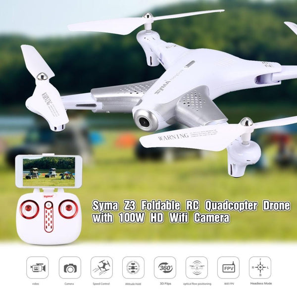 Syma Z3 Smart Foldable FPV RC Quadcopter Drone with 100W HD Wifi Camera Real-time Altitude Hold Flow Hover Headless Mode