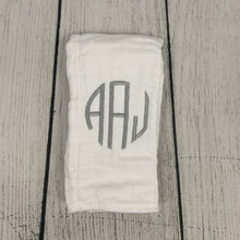 Load image into Gallery viewer, Gray Monogram Burp Cloth