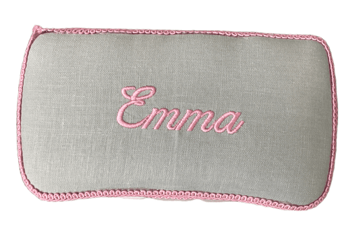 Gray Linen with Pink Trim & Embroidery Baby Wipe Case