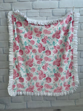 Load image into Gallery viewer, Pink Roses with Flat White Back White Satin & White Lace Ruffle Blanket
