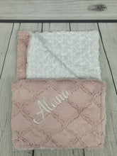 Load image into Gallery viewer, Pink Lattice Blanket White Swirly Back No Ruffle
