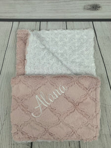 Pink Lattice Blanket White Swirly Back No Ruffle