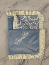 Load image into Gallery viewer, Blue/Ivory Damask & Ivory Ruffle Blanket