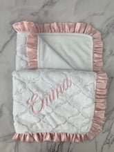 Load image into Gallery viewer, White Lattice Flat White Back Soft Pink Satin Ruffle Blanket