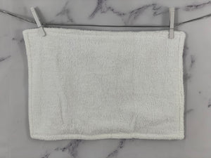 White Gray Embroidery Baptism Towel