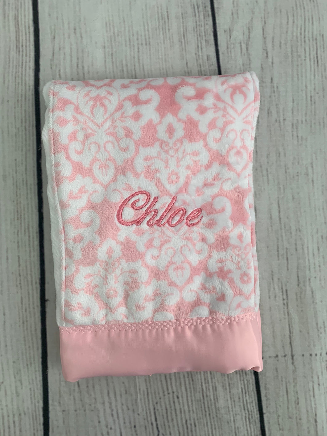 Pink Damask with Pink Satin Burp Cloth