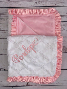 White Lattice with Flat Pink Back  Pink Satin Ruffle Blanket