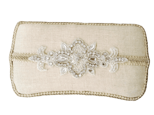 Linen with Applique Baby Wipe Case